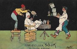 """PUBLICITE  """"  FIVE  O' CLOCK  -  SOJA  """"  SIGNEE  PAR  UN  ILLUSTRATEUR  A  SALONIQUE  EN  1915  . - Publicité"""