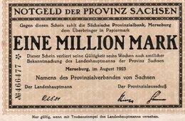 GERMANIA-SACHSEN 1 MILLION MARK 1923 - [ 3] 1918-1933 : Repubblica  Di Weimar