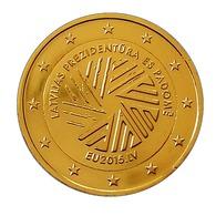 LETTONIE 2015  - 2 EUROS COMMEMORATIVE - PRESIDENCE U.E   - PLAQUE OR - Lettonie
