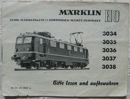 MÄRKLIN H0 Anleitung 3034 3035 3036 3038 Lokomotive 1964 Waschzettel - Locomotives