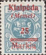 Memelgebiet 130 With Hinge 1922 Klaipeda - Klaipeda