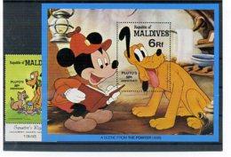 A23299)Disney: Malediven 971** + Bl 81** - Disney