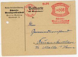 """""""SCHMIEDE-BERUFSGENOSSENSCHAFT"""" Freistempeler 8 Pfg. 1928 Nach Neuenkirchen Mit Frankierter Antwort Postkarte - Deutschland"""