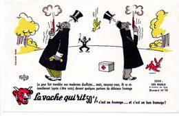 Buvard  La Vache Qui Rit, Fromageries Bel. Série Les Duels à Travers Les âges. N°10 - Buvards, Protège-cahiers Illustrés