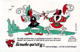 Buvard  La Vache Qui Rit, Fromageries Bel. Série Les Duels à Travers Les âges. N°5 - Buvards, Protège-cahiers Illustrés