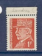 N° 514a PETAIN 1F FAUX DE L'INTELLIGENCE SERVICE ** - 1941-42 Pétain