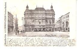 """Liège-1901-Place Verte-Taverne Gruber-Coiffeur-Publicité """"A L'Innovation"""" ,Liège-  Précurseur-Oblitération Arlon Et Huy - Liege"""