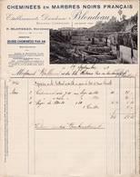 59 Hon HERGIES Près BAVAY Nord FACTURE  1912 Carrières Cheminées En Marbre Noir  Ets BLONDEAU  *  A92 C/ Aulnoye-Aymerie - France
