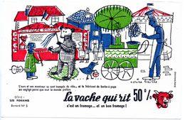 Buvard La Vache Qui Rit, Fromageries Bel. Série Les Forains, Dessin De Corine Baille. N° 5 Montreur D'ours, Barbe à Papa - Blotters