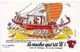 Buvard La Vache Qui Rit, Fromageries Bel. Série La Navigation, Dessin De Luc M.Bayle N° 1 Les Egyptiens - Carte Assorbenti