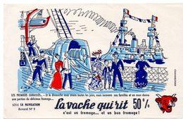 Buvard La Vache Qui Rit, Fromageries Bel. Série La Navigation, Dessin De Luc M.Bayle N° 9 Les Cuirassés. - Buvards, Protège-cahiers Illustrés