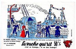 Buvard La Vache Qui Rit, Fromageries Bel. Série La Navigation, Dessin De Luc M.Bayle N° 9 Les Cuirassés. - Blotters