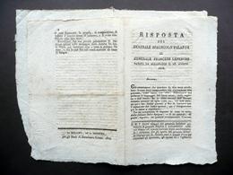 Risposta Del Generale Spagnolo Palafox Al Francese Lefebvre 1808 Soliani 1814 - Vieux Papiers