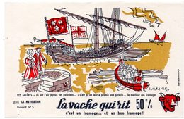 Buvard La Vache Qui Rit, Fromageries Bel. Série La Navigation, Dessin De Luc M.Bayle N° 5 Les Galères. - Carte Assorbenti
