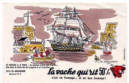Buvard La Vache Qui Rit, Fromageries Bel. Série La Navigation, Dessin De Luc M.Bayle N° 7 Vaisseau à 3 Ponts - Buvards, Protège-cahiers Illustrés