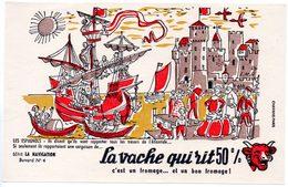 Buvard La Vache Qui Rit, Fromageries Bel. Série La Navigation, Dessin De Luc M.Bayle N° 4 Les Espagnols. - Carte Assorbenti