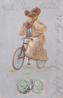 CPA Animal Humanisé Position Humaine Poussin Sur Un Vélo Bicyclette Cycliste Cycling Radsport Illustrateur - Other