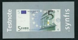 "Test Note ""SYNFIS"" Testnote, 5 EURO, Beids. Druck, RRRRR, Used, Euro Size - EURO"