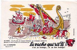 Buvard La Vache Qui Rit, Fromageries Bel. Série La Navigation, Dessin De Luc M.Bayle N° 3 Les Vikings - Papel Secante