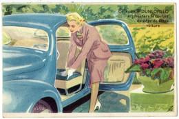 Autos Voitures Automobiles Cars - Coussin DUNLOPILLO DUNLOP - Illustration Renault 4CV Avec Une Jeune Femme - Voitures De Tourisme