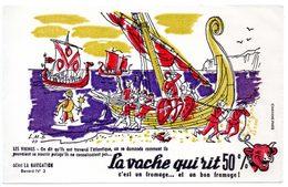 Buvard La Vache Qui Rit, Fromageries Bel. Série La Navigation, Dessin De Luc M.Bayle N° 3 Les Vikings - Buvards, Protège-cahiers Illustrés