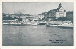 """LINZ A.d. Donau (OÖ) - Landungsplatz, Hotel Weinzinger """"Erzherzog Karl"""", Karte Gel.1936, 700 Kronen Marke,gute Erhaltung - Linz"""