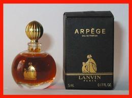 LANVIN : Arpège, Eau De Parfum 5 Ml. Version 1987, Gravé 2H, Boite Noir Mat, Parfait état - Miniatures Modernes (à Partir De 1961)