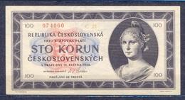Czechoslovakia  - 1945 -  100 Korun    ..P67.... - Czechoslovakia