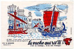 Buvard La Vache Qui Rit, Fromageries Bel. Série La Navigation, Dessin De Luc M.Bayle N° 2 Les Grecs. - Carte Assorbenti