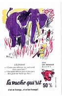 Buvard La Vache Qui Rit, Fromageries Bel. Série Les Animaux Dessin De Beuville N°5 L'éléphant. - Carte Assorbenti