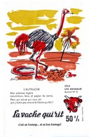 Buvard La Vache Qui Rit, Fromageries Bel. Série Les Animaux Dessin De Beuville N°6 L'autruche - Blotters