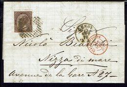 ITALIE - 1876 - Affranchissement à 30 Ct Sur Lettre De Genova Vers Nizza Di Mare - TB - - Marcofilía