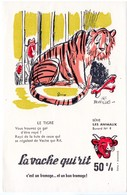 Buvard La Vache Qui Rit, Fromageries Bel. Série Les Animaux Dessin De Beuville N°4 Le Tigre - Blotters