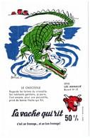 Buvard La Vache Qui Rit, Fromageries Bel. Série Les Animaux Dessin De Beuville N°10 Le Crocodile - Blotters
