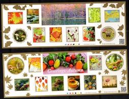 JAPAN, 2018, MNH, GREETINGS, AUTUMN, BIRDS, SQUIRRELS, MUSHROOMS , TREES, FLOWERS, GRAPES, RIVERS,   2  SHEETLETS - Birds