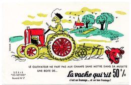 Buvard La Vache Qui Rit, Fromageries Bel. Série Les Métiers Dessin De H.Baillé  N°7 Le Cultivateur - Blotters