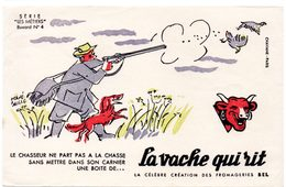 Buvard La Vache Qui Rit, Fromageries Bel. Série Les Métiers Dessin De H.Baillé  N°4 Le Chasseur - Blotters
