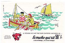 Buvard La Vache Qui Rit, Fromageries Bel. Série Les Métiers Dessin De H.Baillé  N°4 Le Pêcheur - Buvards, Protège-cahiers Illustrés