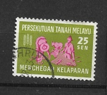 MALASIA FEDERATION 1963 Freedom From Hunger Campaign   USED - Federation Of Malaya