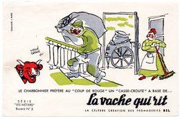 Buvard La Vache Qui Rit, Fromageries Bel. Série Les Métiers Dessin De H.Baillé  N°3 Le Charbonnier. - Papel Secante