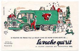 Buvard La Vache Qui Rit, Fromageries Bel. Série Les Métiers Dessin De H.Baillé  N°2 Le Routier - Blotters