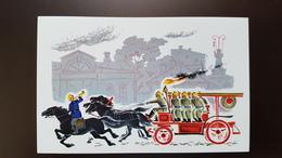 FIREMEN - Camion-citerne D Incendie   - Fireman  -  OLD USSR Postcard 1972 - Firemen