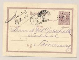 Nederlands Indië - 1885 - 5 Cent Willem III, Briefkaart G1 Van KR En Puntstempel KLATEN Naar Semarang - Nederlands-Indië