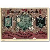 Billet, Allemagne, Saalfeld, 75 Pfennig, Château, 1921 SPL Mehl 1155.5b - Germany
