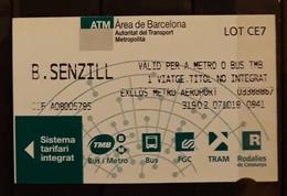 2018 BARCELONA. TICKET TREN Y METRO. - Trenes