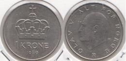 Norvegia 1 Krone 1989 KM#419 - Used - Norvège