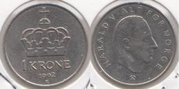 Norvegia 1 Krone 1992 Km#436 - Used - Norvegia