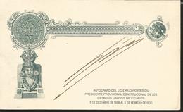J) 1930 MEXICO, POSTAL STATIONARY, EAGLE, AZTEC CALENDAR, AUTOGRAPH FROM THE LIC. EMILIO PORTES GIL CONSTITUTIONAL PROVI - Mexique