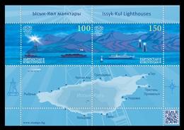 Kyrgyzstan (KEP) 2018 Mih. 110/11 (Bl.31) Issyk-Kul Lighthouses. Ships. Mountains MNH ** - Kirghizistan
