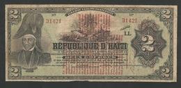 HAITI 2 GOURDES 1919 PICK # 141a RARE BANKNOTE - Haïti